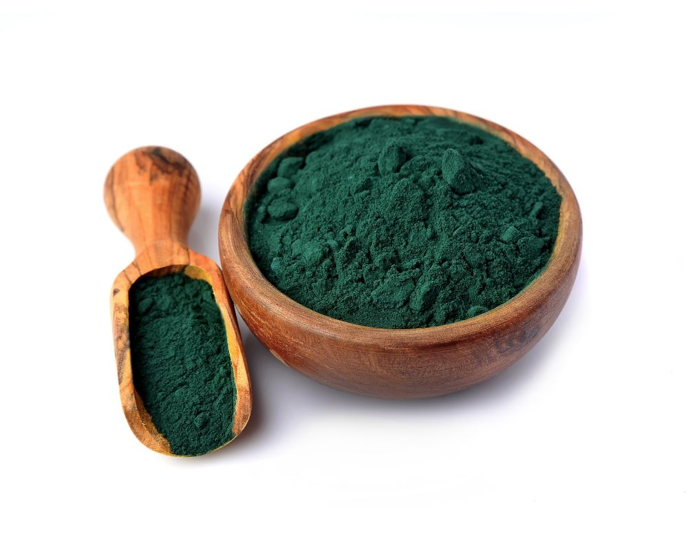 spirulina in bowl and wooden spoon isolated 1